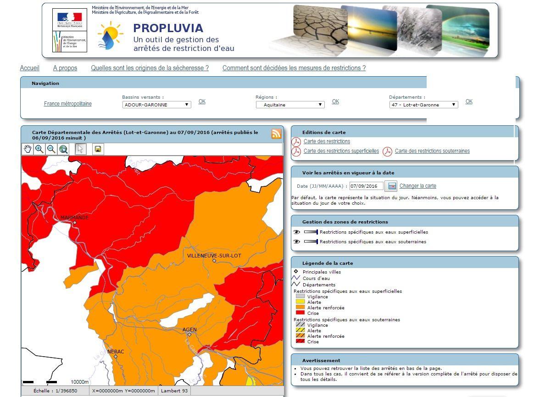 Propluvia Carte Départementale des Arrêtés Lot et Garonne au 07 09 2016